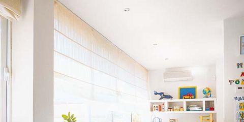 Interior design, Room, Wall, Table, Ceiling, Furniture, Floor, Interior design, Shelving, Desk,
