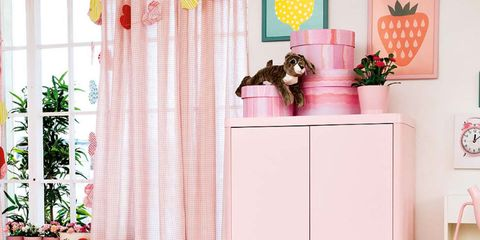 Room, Interior design, Pink, Furniture, Cabinetry, Interior design, Peach, Home, Window treatment, Cupboard,