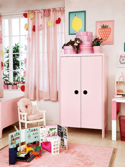 Room, Interior design, Floor, Flooring, Pink, Window covering, Curtain, Interior design, Cabinetry, Peach,