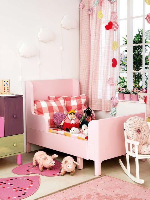 Room, Interior design, Textile, Home, Pink, Furniture, Interior design, Living room, Peach, Chest of drawers,