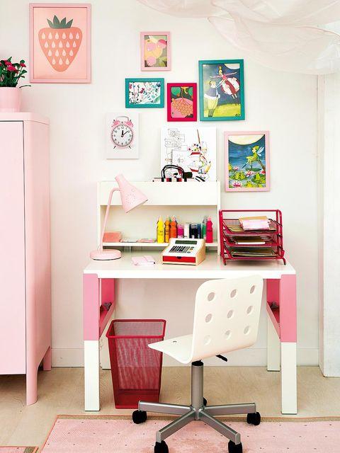 Room, Interior design, Peach, Picture frame, Shelving, Design, Paint, Writing desk, Creative arts, Desk,