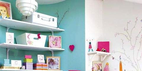 Green, Room, Interior design, Textile, Wall, Furniture, Red, Shelving, Pink, Bed,