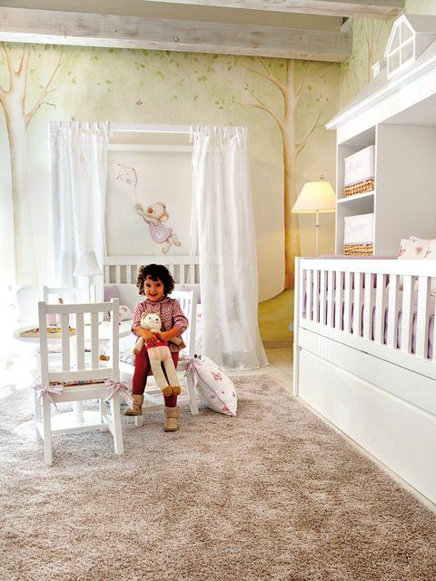 Room, Interior design, Textile, Floor, Ceiling, Interior design, Curtain, Molding, Shelf, Peach,