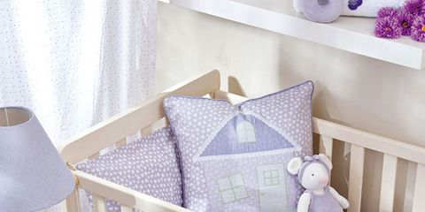 Product, Room, Infant bed, Bed, Interior design, Textile, Bedding, Purple, Linens, Home,