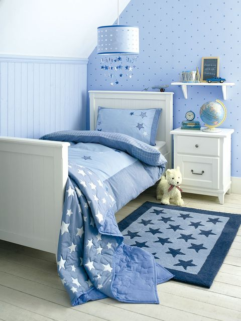 Blue, Room, Product, Interior design, Floor, Chest of drawers, Drawer, Bed, Wall, Textile,