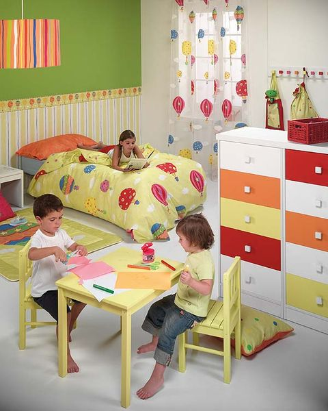 Room, Yellow, Interior design, Textile, Furniture, Child, Wall, Linens, Bedroom, Bedding,