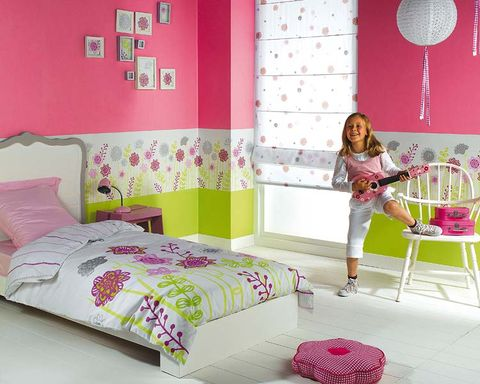 Room, Interior design, Green, Yellow, Bed, Textile, Wall, Floor, Pink, Furniture,