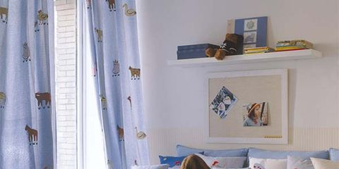 Blue, Room, Interior design, Textile, Table, Furniture, Curtain, Home, Window covering, Interior design,