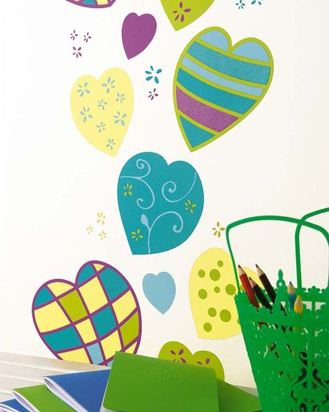 Green, Pattern, Art, Heart, Love, Holiday, Illustration, Kitchen utensil, Paper product, Drawing,