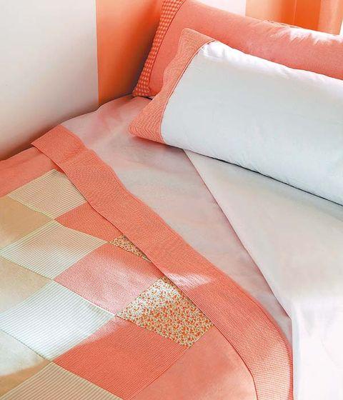 Orange, Textile, Red, Linens, Pink, Amber, Peach, Pattern, Bedding, Bed sheet,