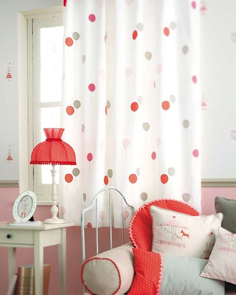 Product, Interior design, Room, Textile, Red, Wall, Lampshade, Interior design, Linens, Window treatment,