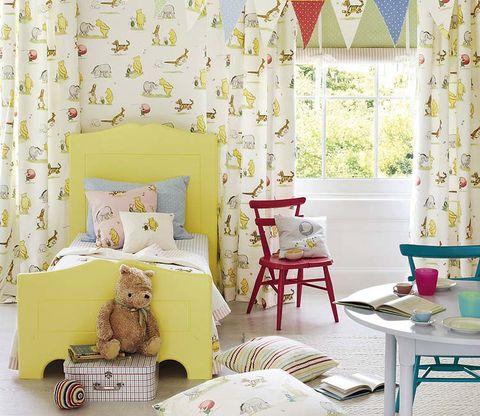 Interior design, Room, Yellow, Green, Textile, Furniture, Interior design, Wall, Home, Table,