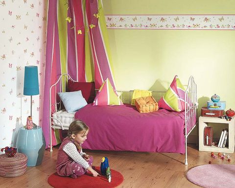 Room, Interior design, Textile, Purple, Pink, Magenta, Bedroom, Bedding, Linens, Flooring,