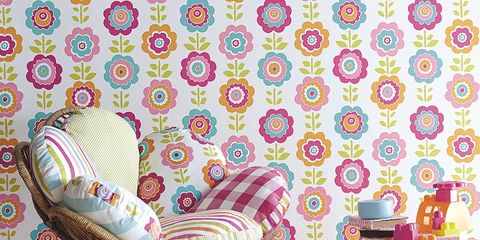 Pink, Room, Purple, Pattern, Violet, Lavender, Peach, Wallpaper, Design, Linens,