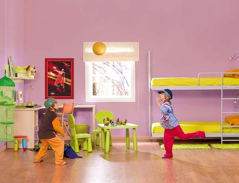 Room, Magenta, Violet, Interior design, Picture frame, Paint, Play, Illustration, Painting, Stool,