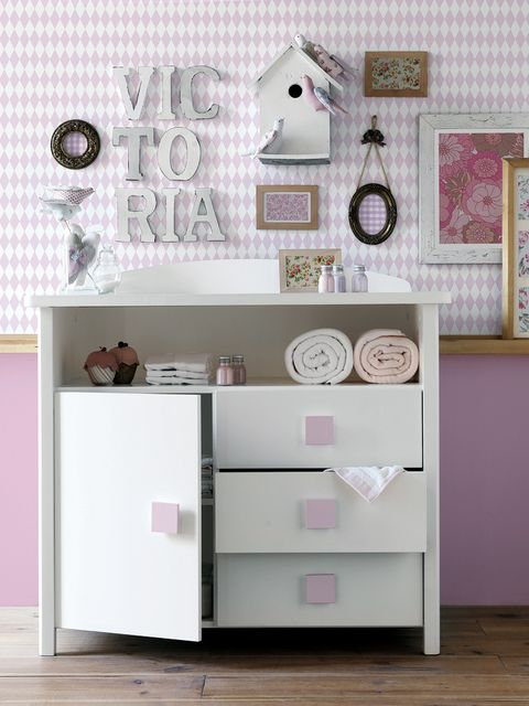 Room, Drawer, White, Pink, Wall, Interior design, Cabinetry, Chest of drawers, Grey, Picture frame,