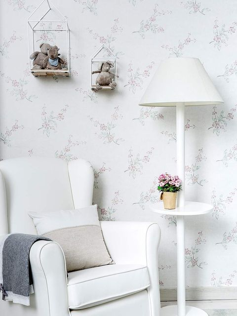 White, Furniture, Room, Interior design, Wall, Table, Living room, Floor, Wallpaper, Lamp,