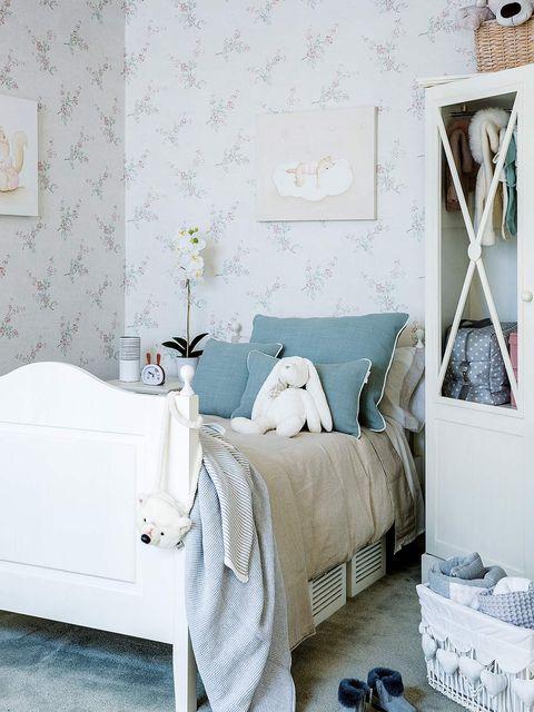 Bedroom, Bed, Room, Furniture, Wall, Bed frame, Blue, Bed sheet, Interior design, Bedding,