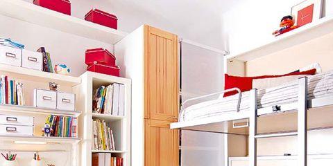 Room, Shelving, Shelf, Interior design, Red, Wall, Refrigerator, Bookcase, Plywood, Publication,