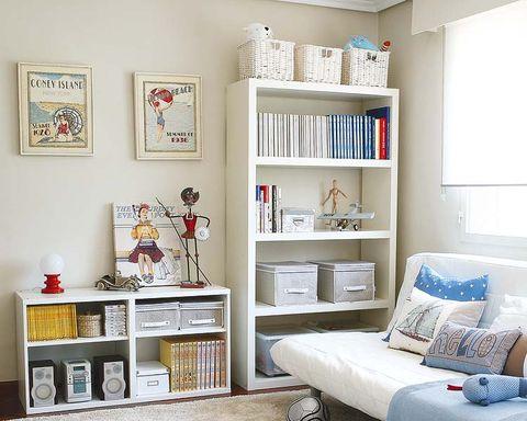 Room, Interior design, Wall, Shelving, Furniture, Shelf, Home, Interior design, Linens, Pillow,