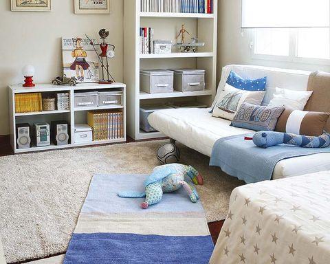 Blue, Room, Interior design, Wall, Textile, Home, White, Shelving, Furniture, Living room,