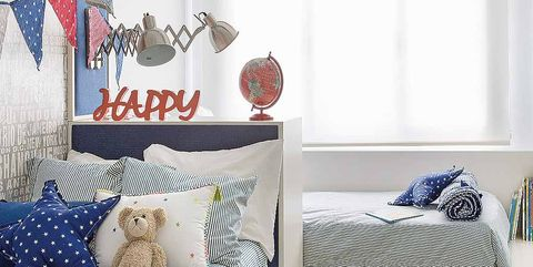 White, Room, Blue, Wall, Interior design, Furniture, Textile, Shelf, Bed, House,