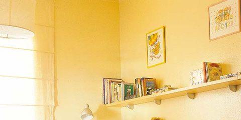 Room, Interior design, Yellow, Wall, Orange, Linens, Home, Bedding, Interior design, Bedroom,