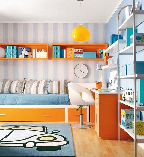 Room, Interior design, Yellow, Orange, Wall, Floor, Ceiling, Shelving, Turquoise, Interior design,