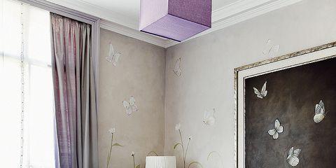 Room, Interior design, Textile, Purple, Furniture, Home, Living room, Floor, Wall, Ceiling,
