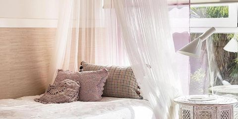 White, Curtain, Room, Bed, Furniture, Interior design, Canopy bed, Pink, Bedroom, Window treatment,