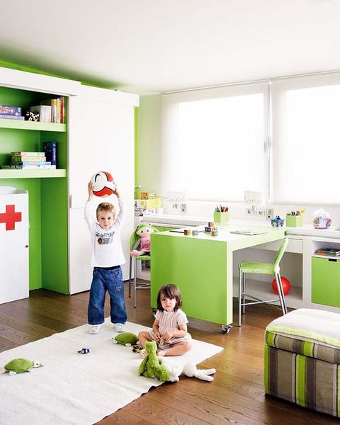 Room, Green, Floor, Interior design, Child, Flooring, Home, Shelf, Shelving, Toddler,