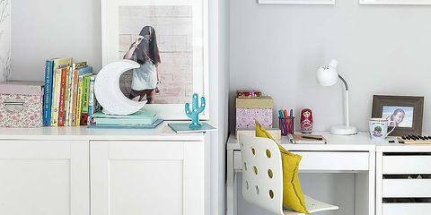 Furniture, White, Room, Yellow, Floor, Bed sheet, Chest of drawers, Desk, Bedroom, Shelf,