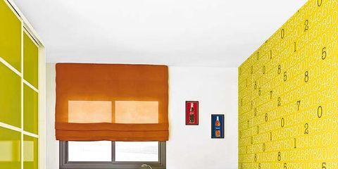 Room, Yellow, Interior design, Green, Floor, Flooring, Wall, Red, Furniture, Orange,