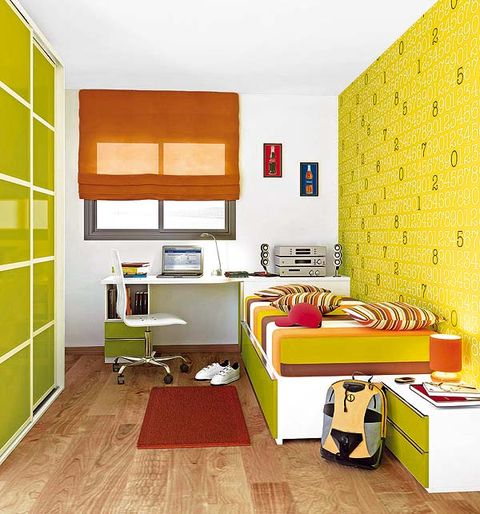 Room, Yellow, Interior design, Green, Floor, Flooring, Wall, Red, Furniture, Orange,