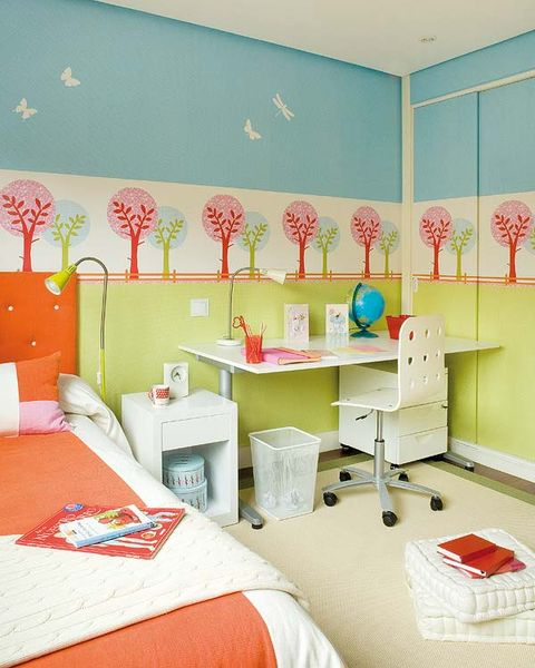 Room, Interior design, Wall, Textile, Bed, Orange, Linens, Bedding, Bedroom, Interior design,