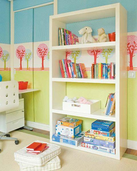 Room, Interior design, Shelving, Shelf, Pink, Wall, Teal, Interior design, Turquoise, Home,