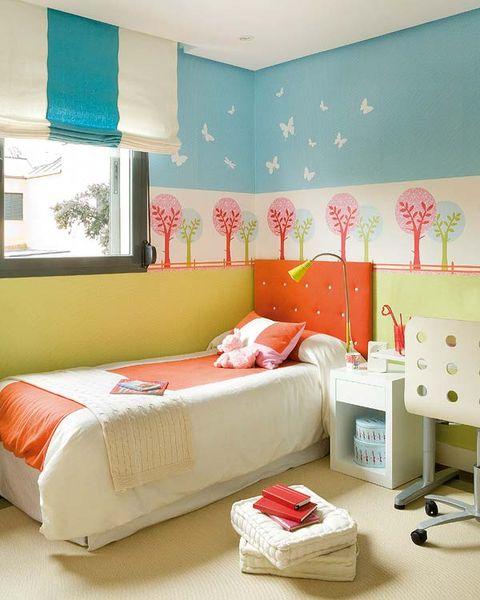 Room, Interior design, Green, Textile, Wall, Bedding, Red, Bedroom, Orange, Bed,