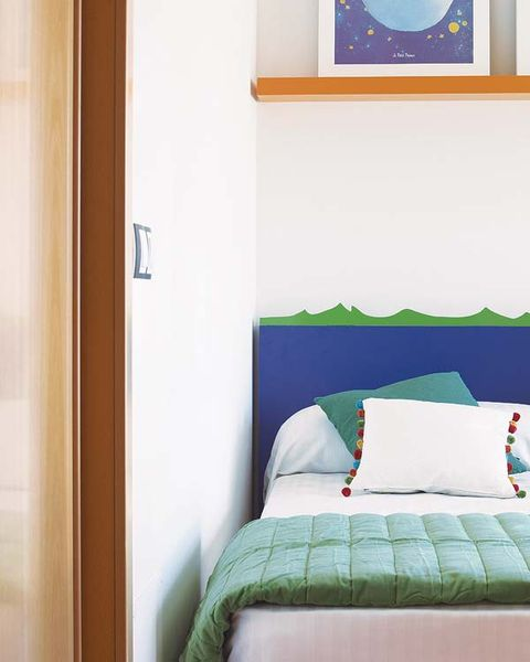 Blue, Room, Green, Interior design, Textile, Wall, Bedding, Teal, Linens, Bedroom,