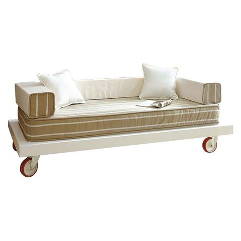 Outdoor furniture, Beige, Rectangle, Futon pad, Silver, Futon, Chaise longue, Outdoor sofa,