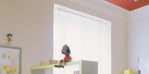 Room, Interior design, Wall, Furniture, Shelving, Orange, Interior design, Home, Paint, House,