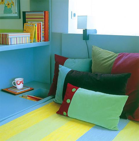 Blue, Green, Room, Yellow, Interior design, Textile, Wall, Shelf, Shelving, Turquoise,