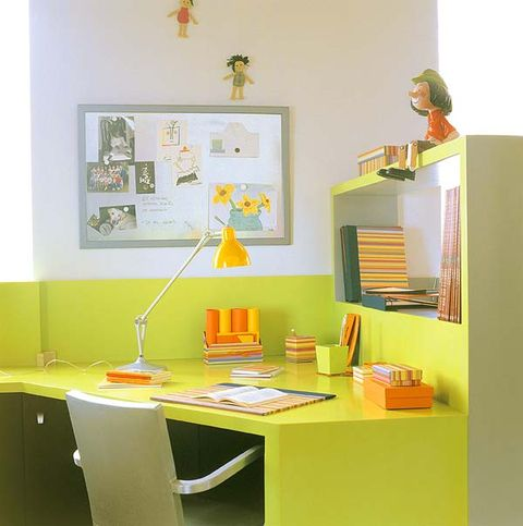 Yellow, Room, Interior design, Wall, Orange, Picture frame, Paint, Interior design, Shelving, Desk,