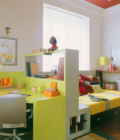 Room, Interior design, Wall, Furniture, Shelving, Orange, Interior design, Home, Paint, House,