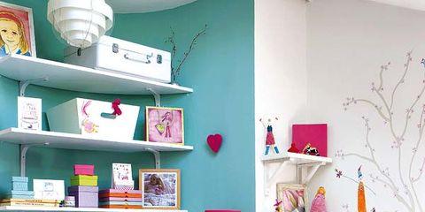 Green, Room, Interior design, Textile, Wall, Red, Furniture, Shelving, Pink, Shelf,