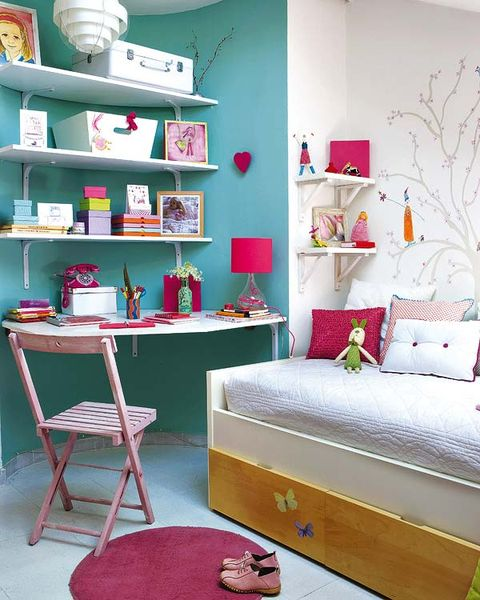 Green, Room, Interior design, Textile, Wall, Red, Furniture, Shelving, Pink, Shelf,
