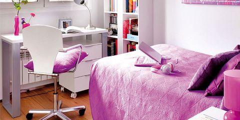 Room, Interior design, Floor, Purple, Flooring, Wall, Violet, Magenta, Pink, Furniture,