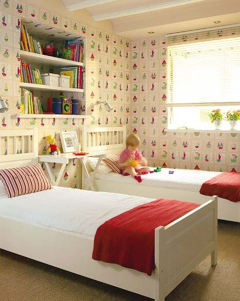 Room, Bed, Interior design, Bedding, Bedroom, Floor, Textile, Wall, Bed sheet, Red,