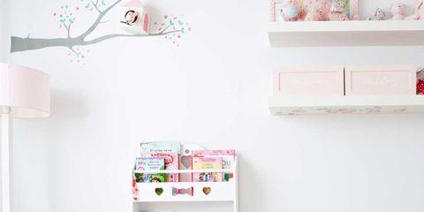 Room, Interior design, Wall, Pink, Table, Floor, Shelving, Shelf, Peach, Interior design,