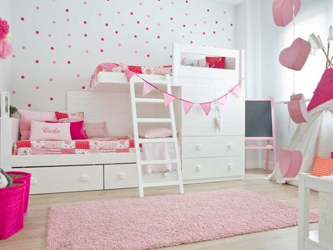 Room, Interior design, Floor, Textile, Red, Pink, Bed, Interior design, Home, Wall,