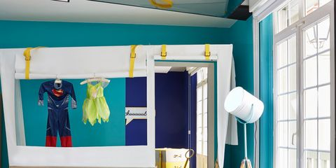 Room, Interior design, Wall, Interior design, Teal, Ceiling, Turquoise, Box, Shipping box, Decoration,